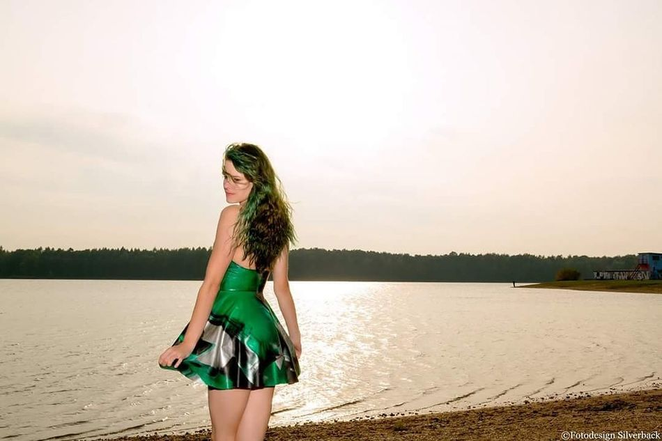 Dress Long Hair Water Fashion One Woman Only Summer Only Women Beauty Curly Hair Portrait Latex Fetish Latexmodel Latexdoll Young Women Fetishphotography