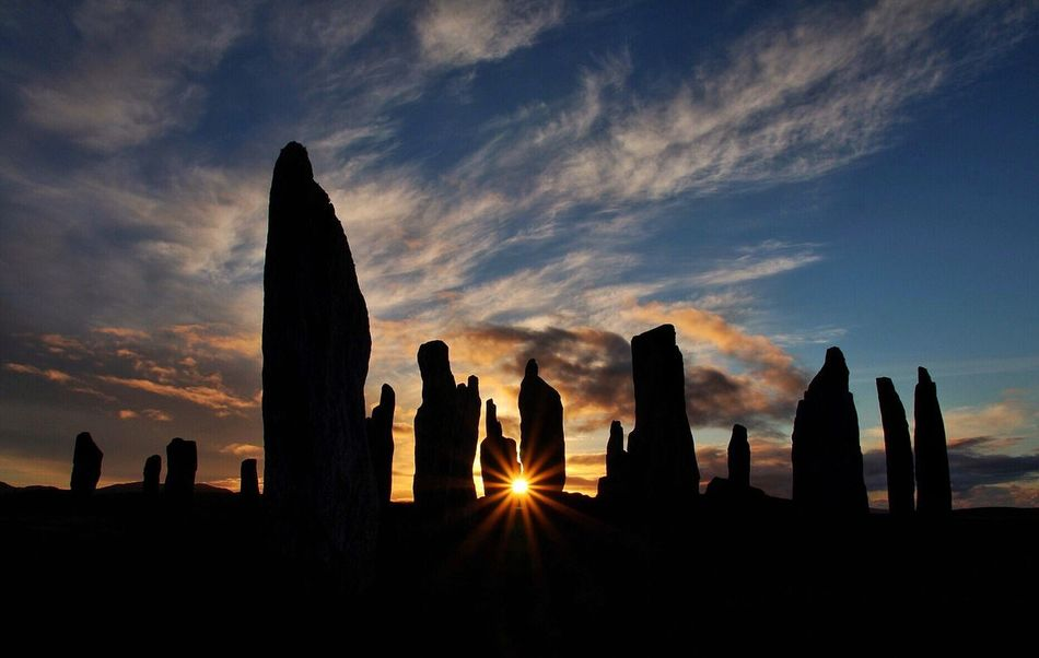 Sunset Silhouette Cloud - Sky Sky Travel Destinations Outdoors Nature No People Callanish Stones Standing Stones Sun Star Scotland Western Isles First Eyeem Photo Ancient Ancient Civilization Stone Age EyeEmNewHere