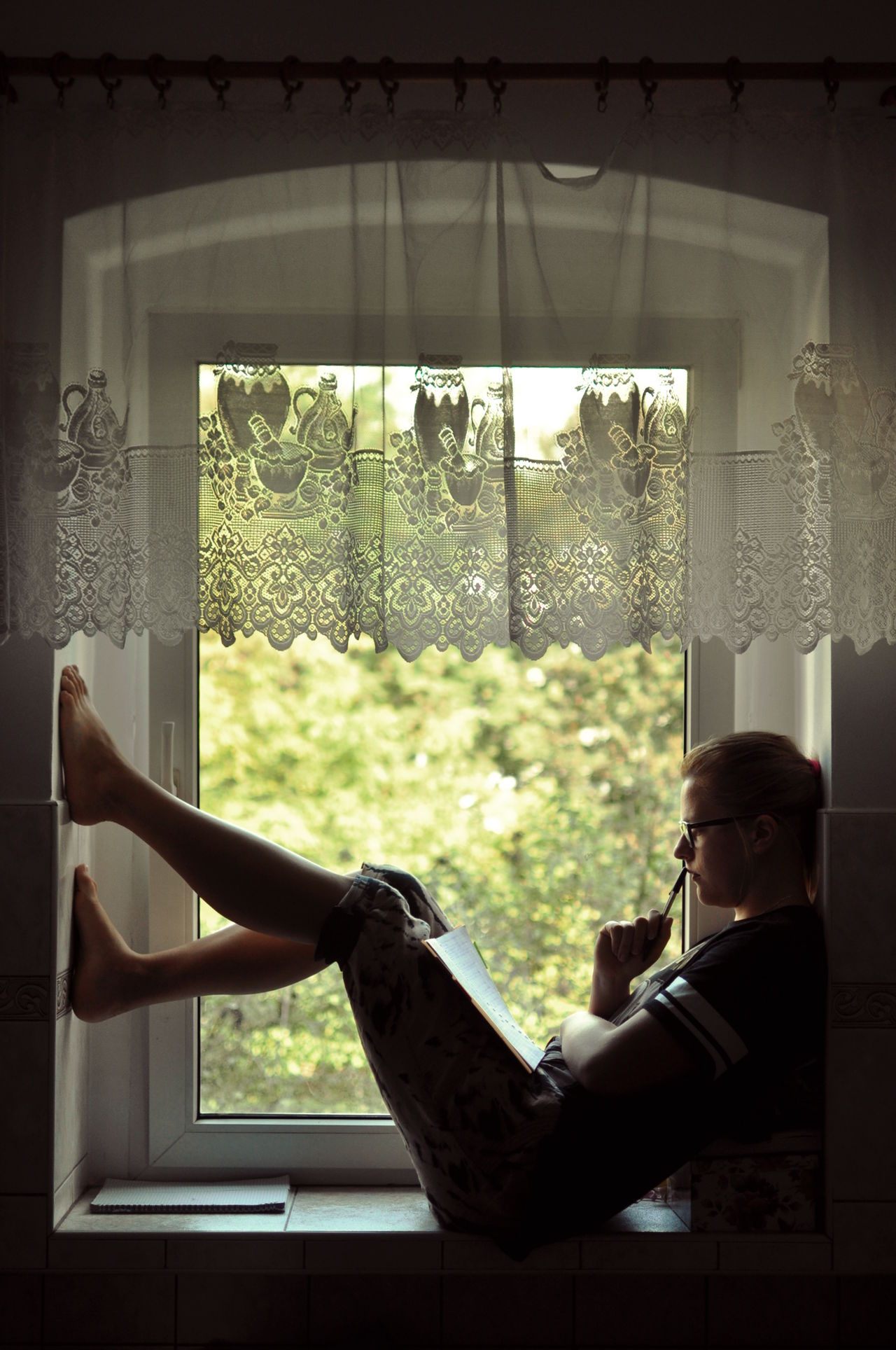 Day Domestic Life Girl Morning My Favorite Place Person Sitting Studying Thinking Window