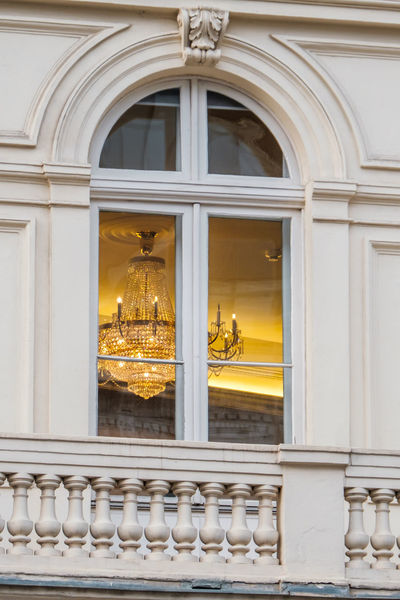 Arch Architecture Building Exterior Built Structure Chandelier Chandelier In Window Day History No People Outdoors Window