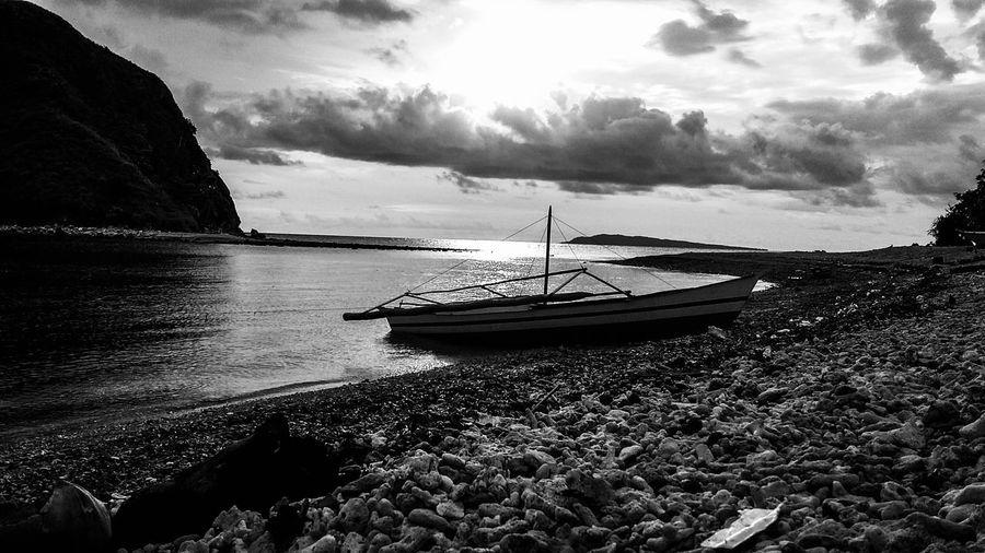 Monochrome Photography Relaxing Hello World People And Places Enjoying Life Malalison, Antique Sea Nature Bangka Boat Sailing
