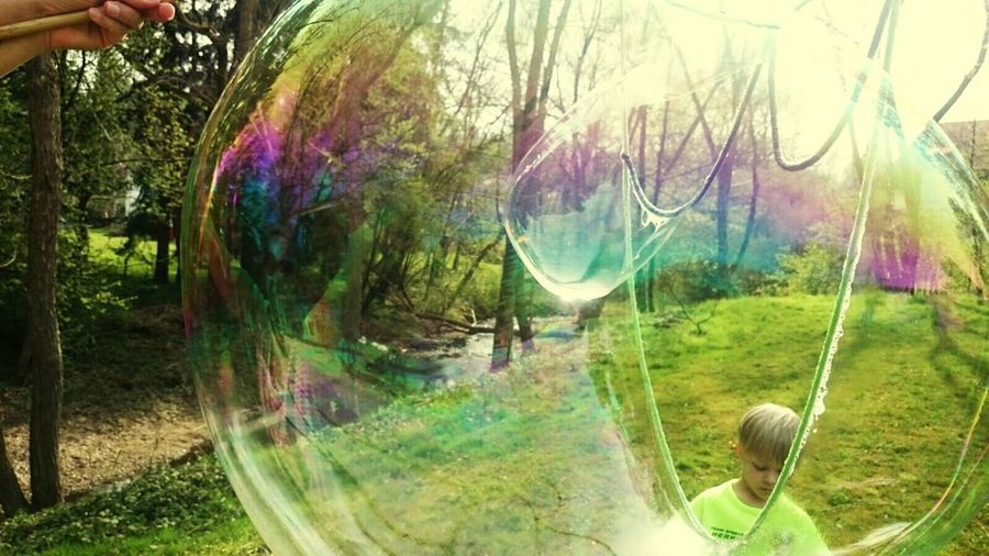 Outdoors Grass Fragility Soap Bubble Blowing Beauty In Nature Eyem Nature Lover Multi Colored Eyem Masterclass Childhood Green Color Tranquility Soapbubblephotographie Soap Bubbles 💖 Soap Bubbles Shadow Photography Shadows And Silhouettes Day