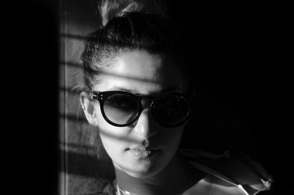 Shadows. One Person Real People Front View Close-up Portrait Childhood Glasses Indoors  Black Background Young Adult Day People Welcome To Black