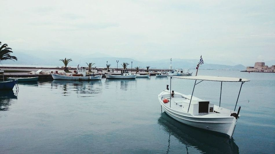 Greece Nafplio Travel Travelling Beautiful Happiness Sky Landscape Nature Day Vacations Outdoors Nautical Vessel Reflection Travel Destinations Tranquility Moored Sea Water No People Beach Tranquil Scene Harbor Scenics