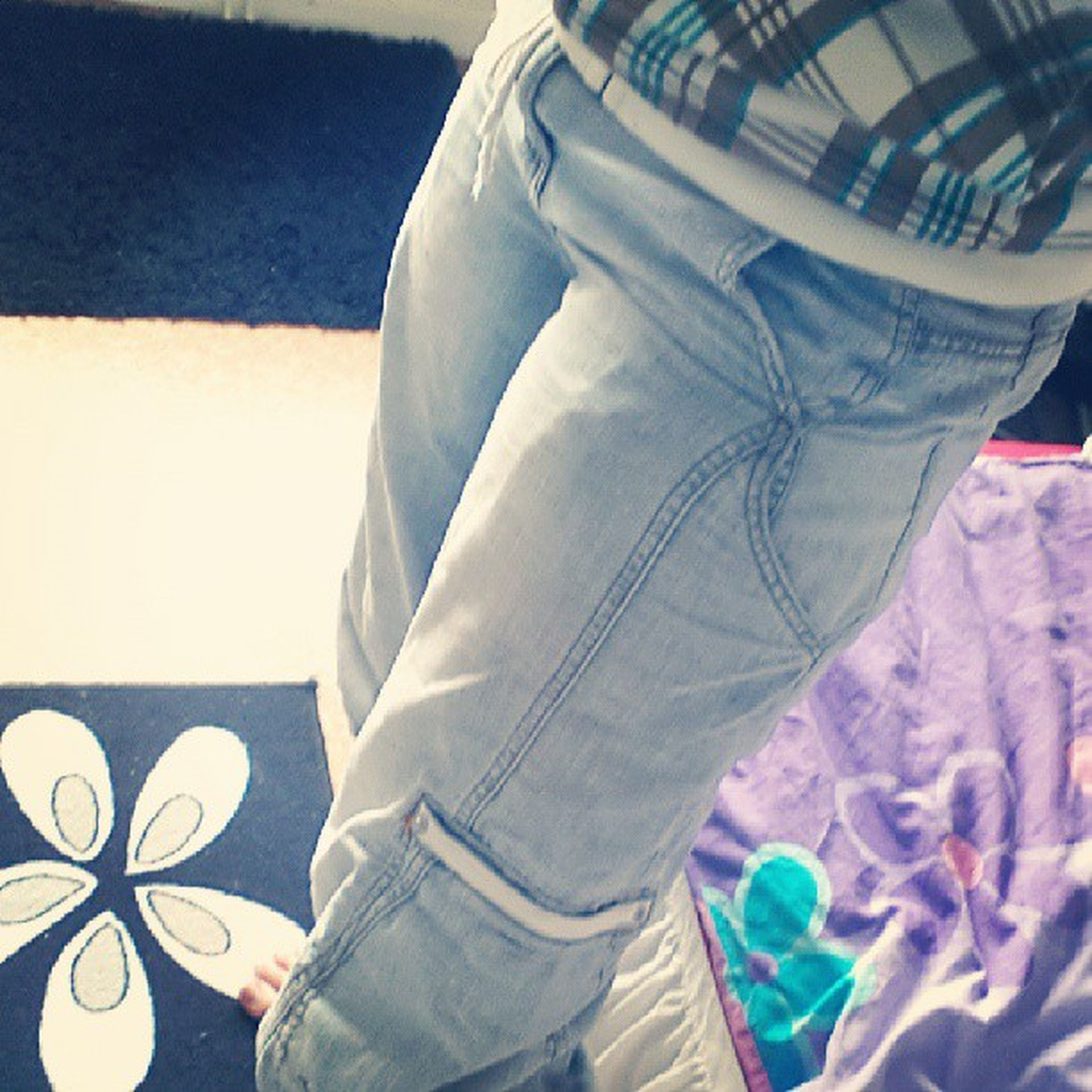 indoors, blue, jeans, low section, casual clothing, person, lifestyles, warm clothing, standing, men, shoe, leisure activity, white color, fabric, bed, rear view, textile