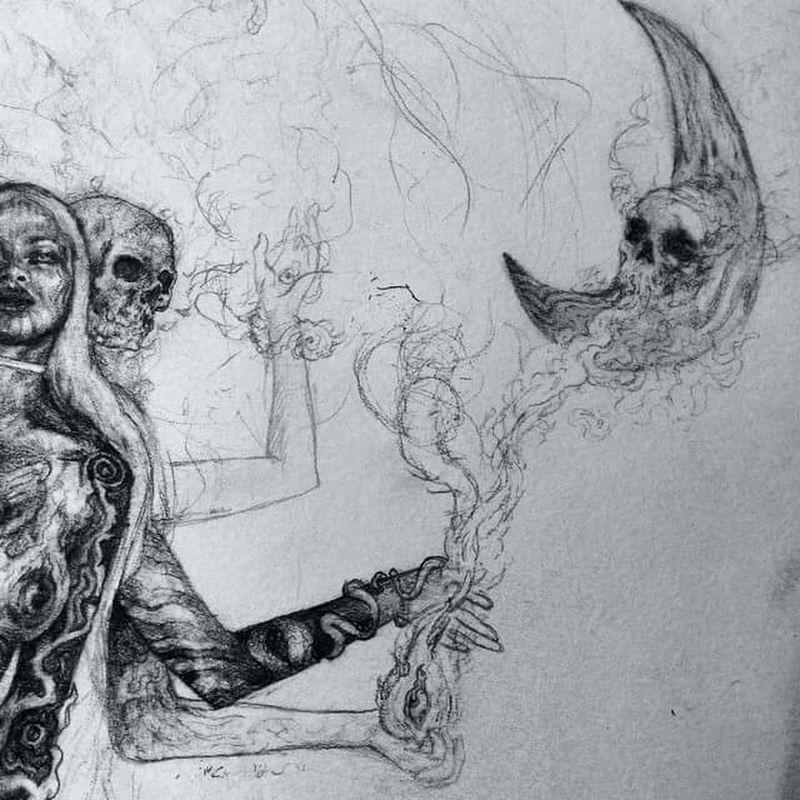 🌒🌔🌘The sun sees your body .... the moon sees your soul 🌒🌔🌘 Macabre Art Macabre Luna Moon Artbyme Pencil Drawing Drawing Disegno Disegni Disegni: Il Mio Universo! Matitabiancoenero Matita Skull Blackandwhite