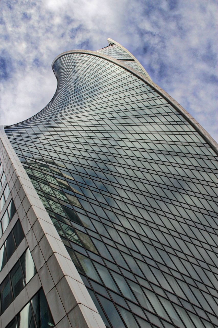 architecture, low angle view, built structure, modern, building exterior, sky, day, outdoors, no people, cloud - sky, skyscraper, city