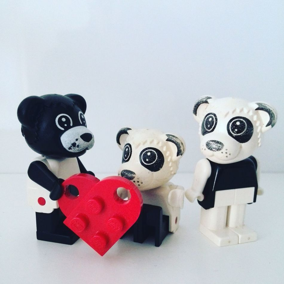 Affection Bear Blackandwhite Copy Space Dog Fabuland Family FamilyLove Figure Figurine  Heart Heartshaped Human Representation Indoors  LEGO Legolove Legoporn Love Lovers Minifigure No People Panda - Animal Tiger White Background