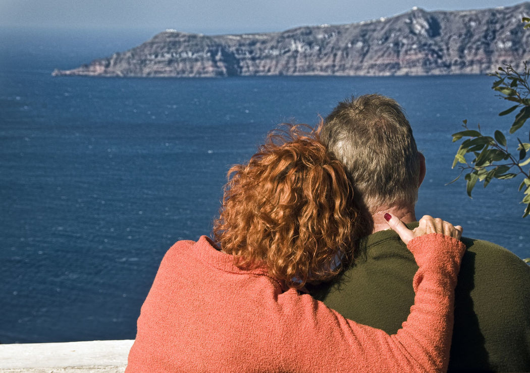 Couple Couple Enjoying Santorini Greek Islands In Love Red Hair Red Haired Woman Relax Relaxing Smell The Roses Time Out V Vista Woman With Red Hair Wearing Orange Sweater