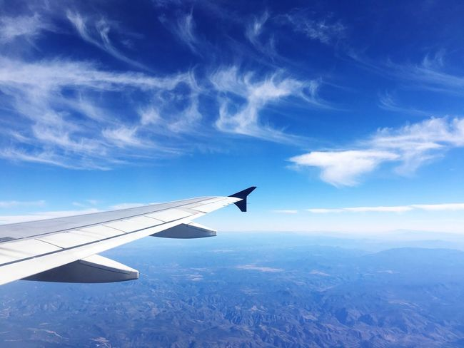 Plane Blue Sky Blue Traveling From My Point Of View Good Times Clouds And Sky Flying On The Way Picture Perfect Gallery Light Clouds Eyeem Paid Spread Your Wings Flying High In The Sky Cruising High Altitude The Most Beautiful View Tranquility Calmness