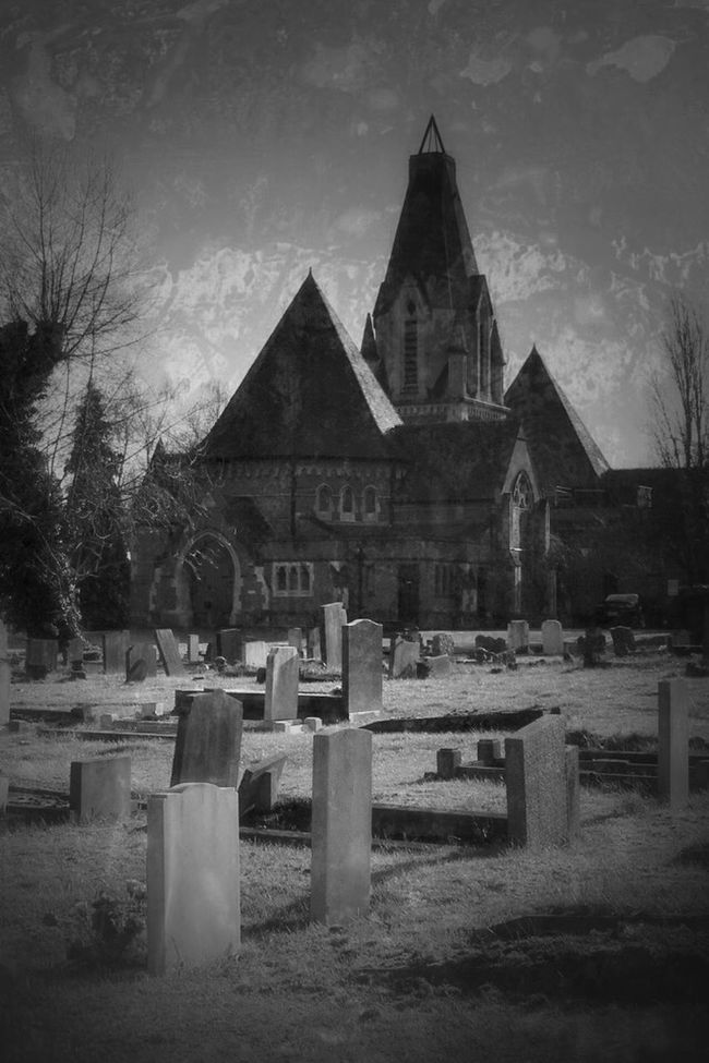 Blackandwhite Monochrome Graveyard Beauty Cemetery Church Blancoynegro Darkart Landscape Noir Eye4photography