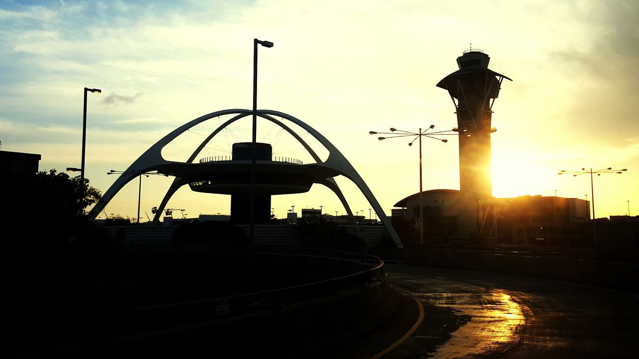 Travel Sunset Travel Destinations Architecture Silhouette City Business Finance And Industry No People Outdoors Day LAX Los Angeles, California Los Angeles Skyline Airport Photography Iconic Buildings Virgin Atlantic