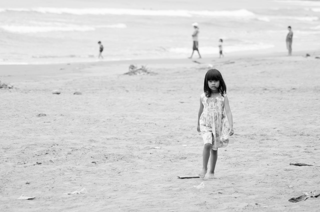 Finding New Frontiers Kid Outdoors Nature Landscape Landscapes Sand Beach On The Beach Beauty In Nature Monochrome Black And White Black & White