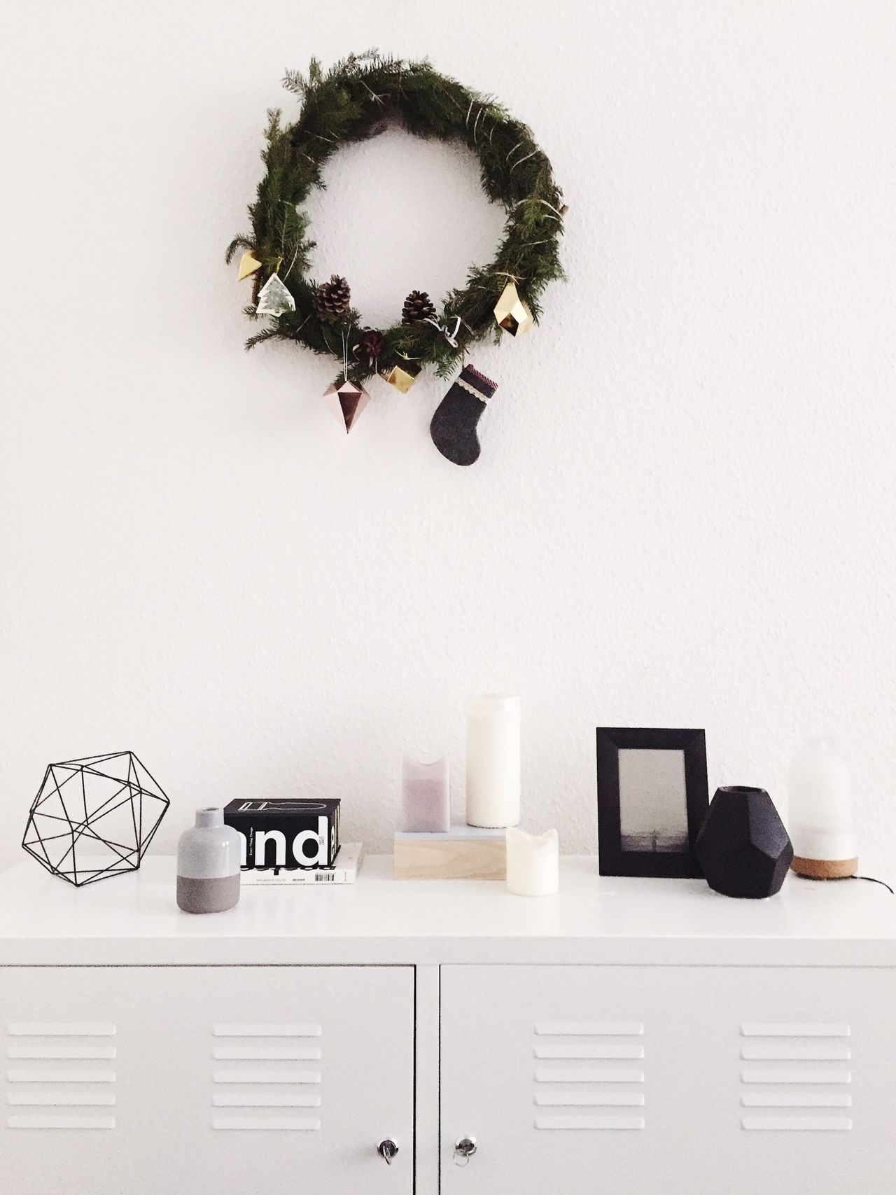 selfmade Christmas wreath at home 🏡🎄🌠 Handmade For You Christmastime Selfmade Apartment Interior Design Interior Home Wreath White White Color White Background Home Interior No People Design Moments Cozy Sideboard White Interior