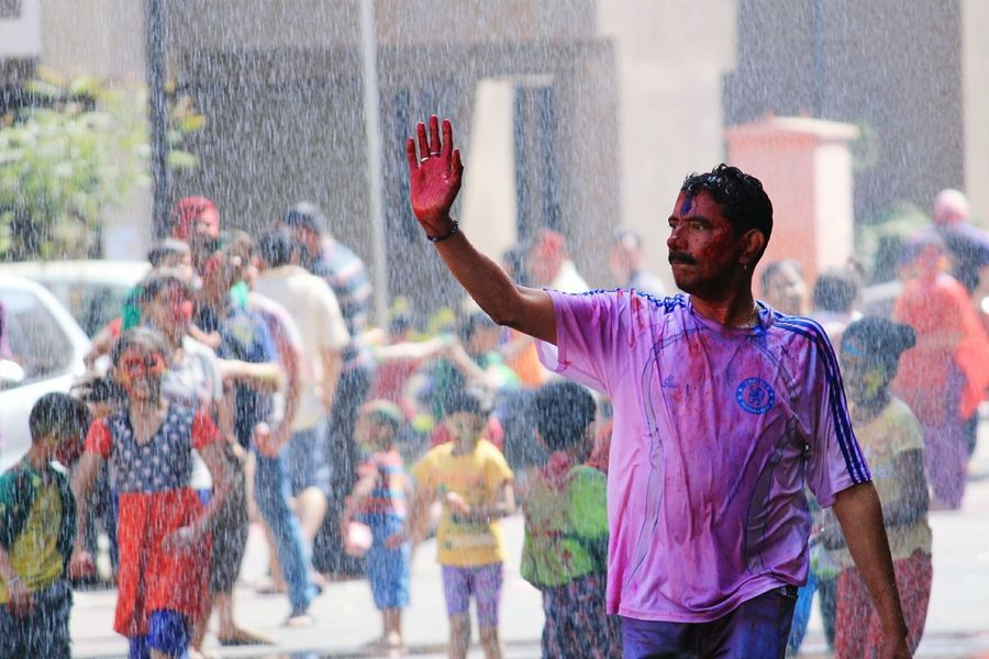 the leader Canon Canonphoto Canonphotography Canon1100d EyeEm Selects India Motion Spraying Holi Only Men Adults Only Fun Traditional Festival Adult Powder Paint Outdoors People Real People Lifestyles Men Day Celebration Multi Colored Happiness