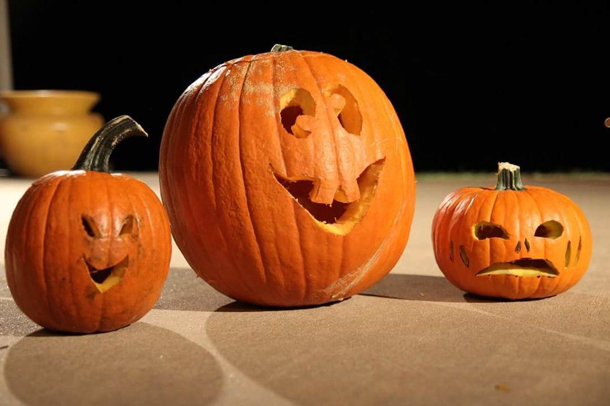 Pumpkin Halloween Anthropomorphic Face Carving - Craft Product Jack O' Lantern Autumn Vegetable Holiday - Event No People Celebration Pumpkin Seed Jack O Lantern Freshness Outdoors
