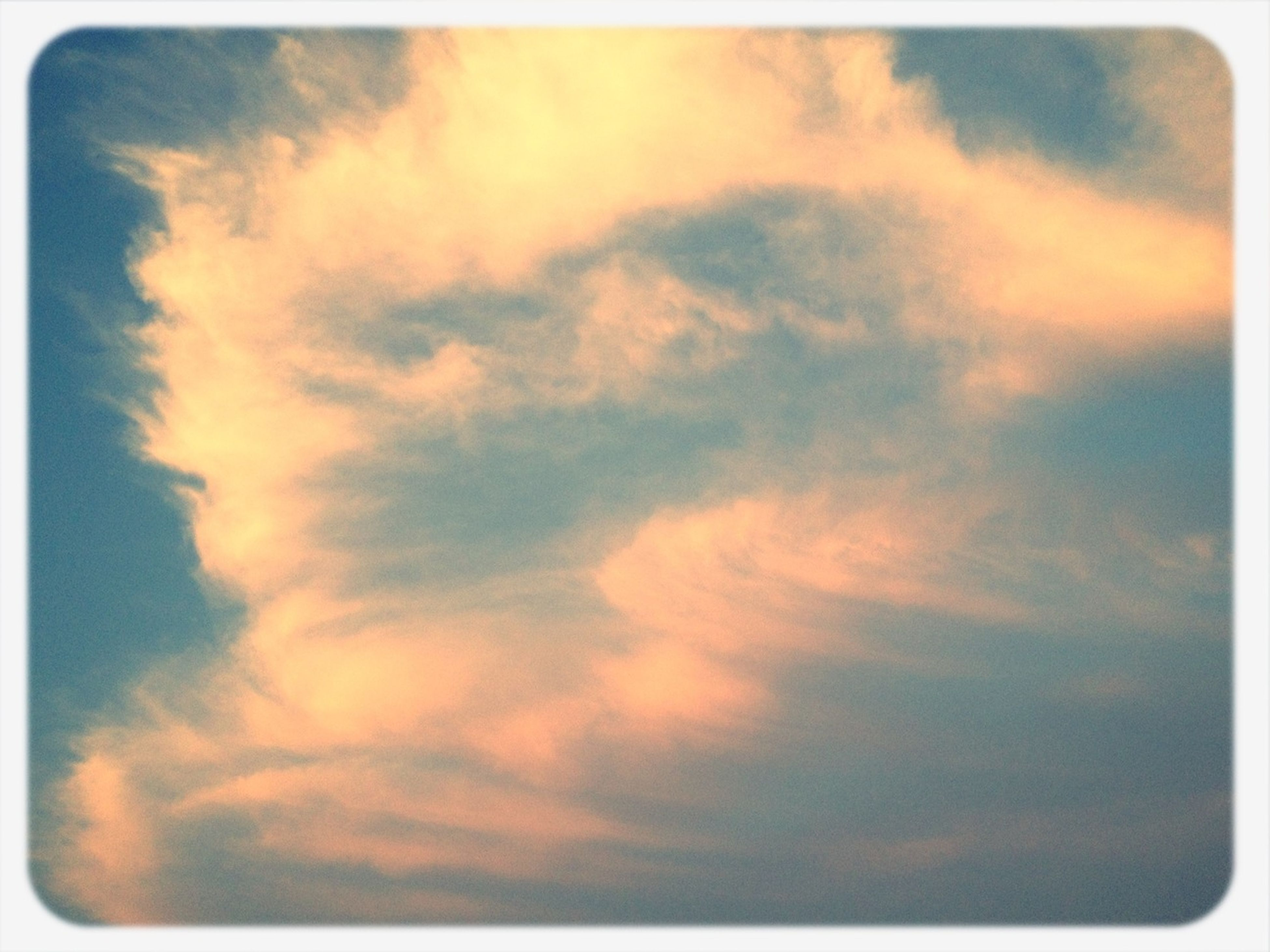 transfer print, auto post production filter, sky, cloud - sky, beauty in nature, scenics, tranquility, low angle view, sunset, tranquil scene, nature, cloudy, cloud, idyllic, backgrounds, outdoors, sky only, cloudscape, orange color, no people