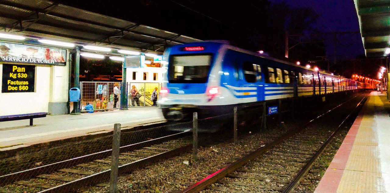 Rail Transportation Public Transportation Transportation Train - Vehicle Railroad Station Mode Of Transport Night Railroad Station Platform Argentina Bernal