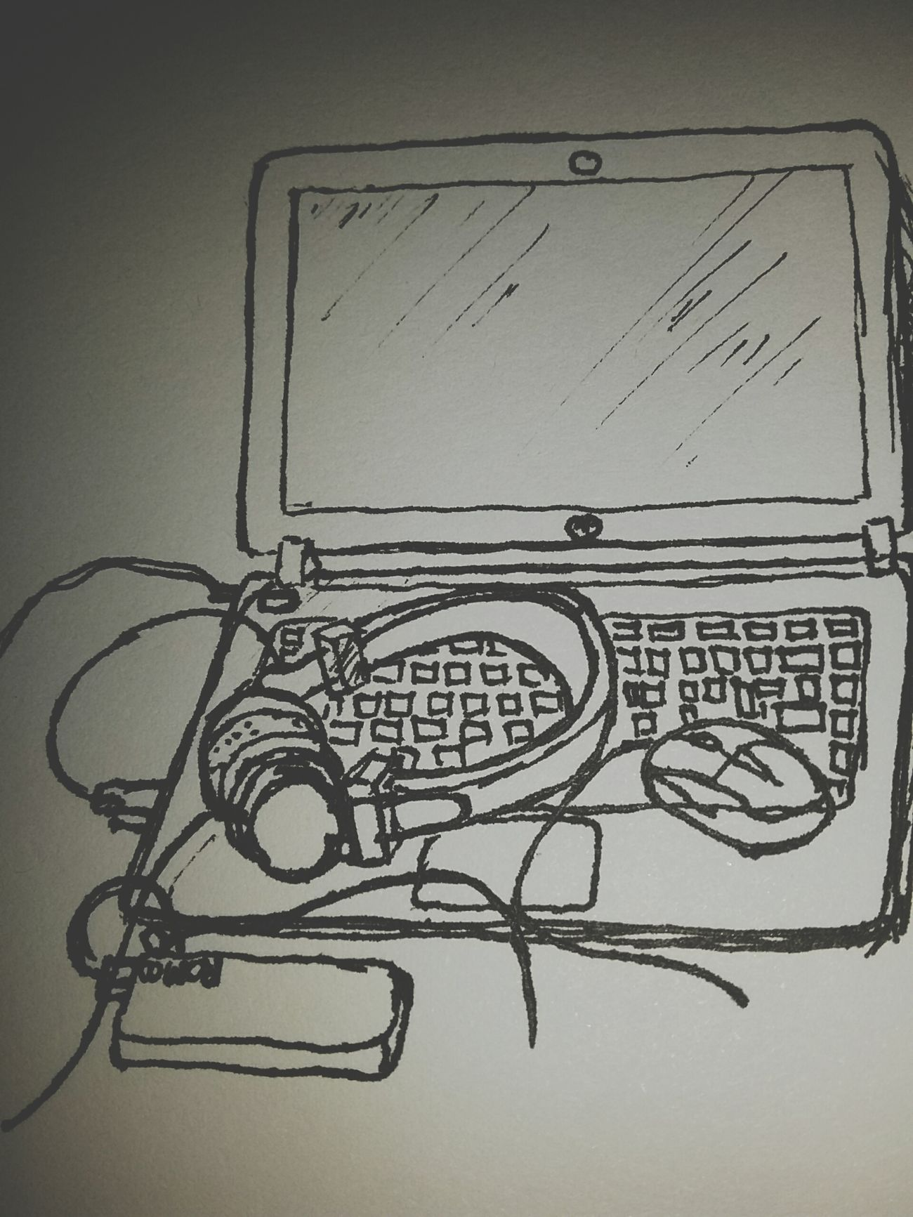Hello World Music Live Music My Laptop Check This Out Bored Lol Sketch Livesketch Black&white Drawing ByMe