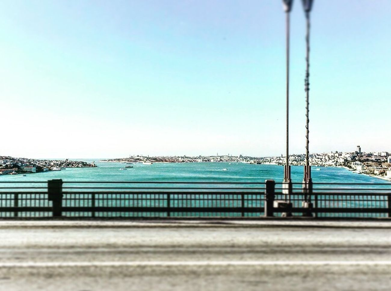 Water Sea Railing Clear Sky Sky Outdoors No People Built Structure Day Architecture Nature City Istanbul Bosphorus Bridge ASIA Europe