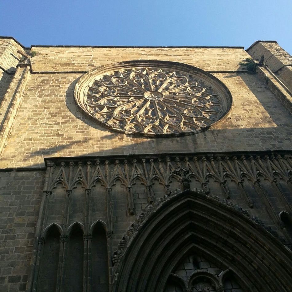 Architecture History Low Angle View Sky Building Exterior Close-up Santa Maria Del Pi Barcelona