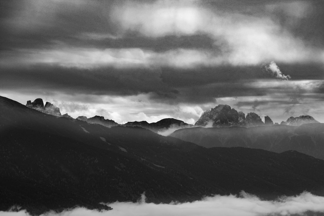 Beauty In Nature Cloud - Sky Day Dolomites, Italy Landscape Mountain Mountain Range Nature No People Outdoors Scenics Sky Snow Storm Cloud Tranquil Scene Tranquility Winter