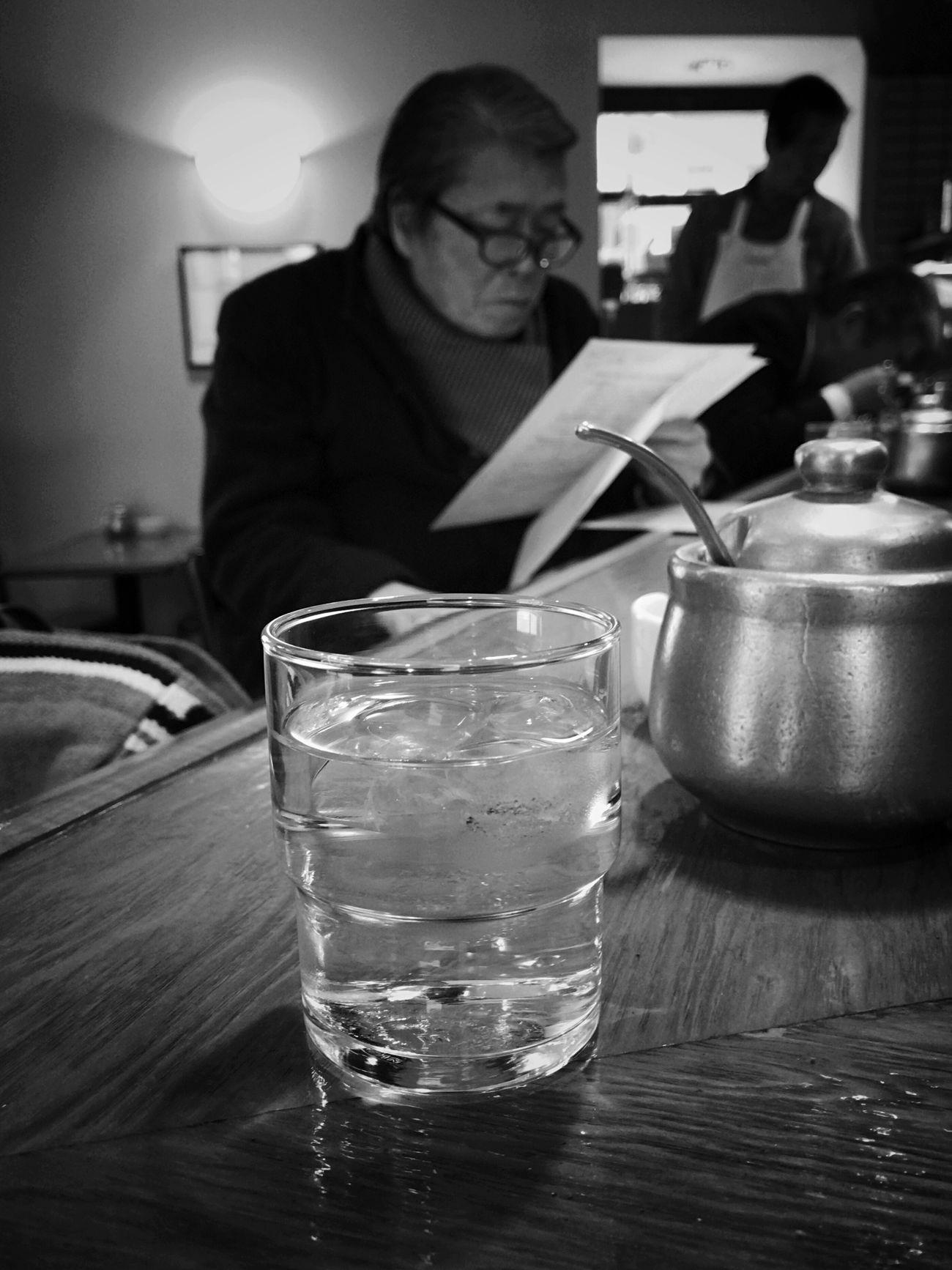 Cafe Drinking Glass Black & White