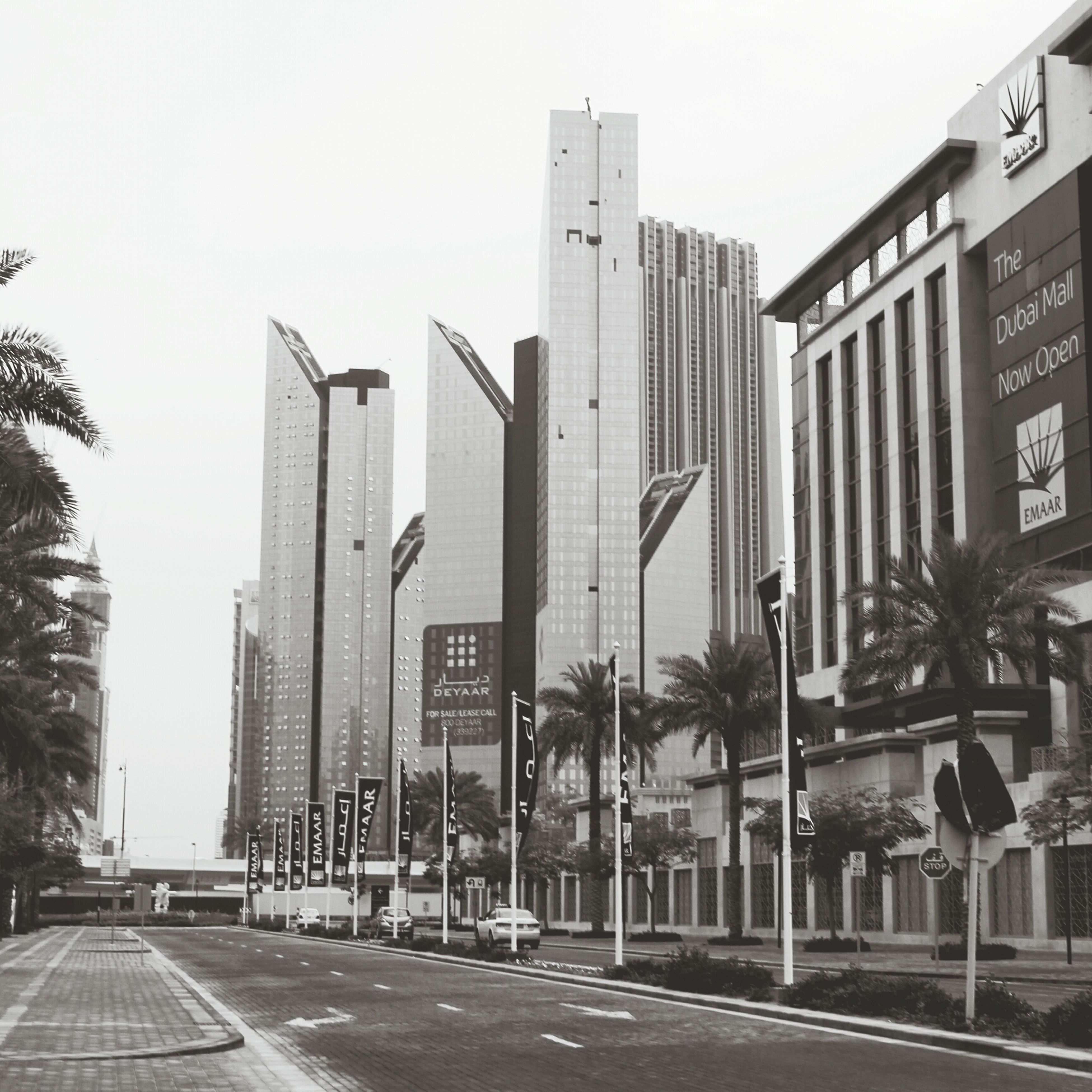 building exterior, architecture, built structure, city, clear sky, street, building, office building, road, modern, transportation, skyscraper, city life, sky, road marking, day, street light, outdoors, the way forward, tall - high