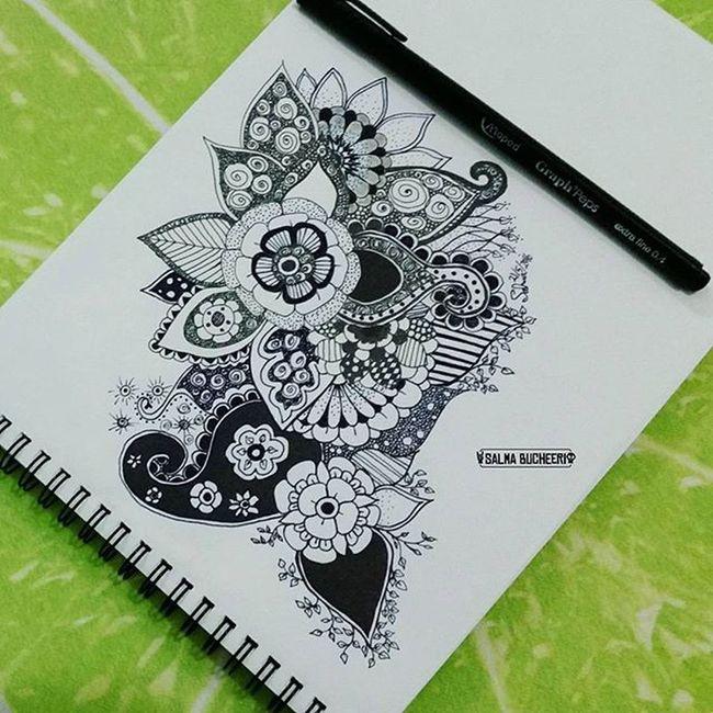 صباح الخير 🌿 ' good morning Draw Mandala Zentangleart PhonePhotography