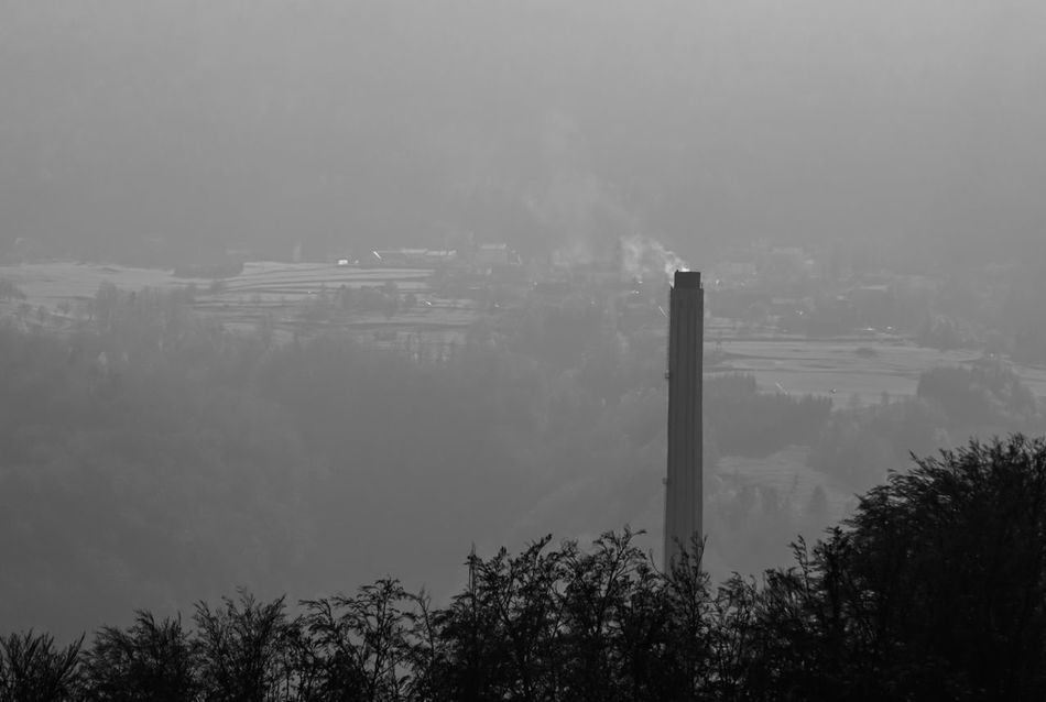 Air Pollution Air Polution Big Chimney Chimney Day Fog Industrial Chimney Man Vs Nature Nature No People Outdoors Sky Social Issues Storm Cloud Tree ındustry