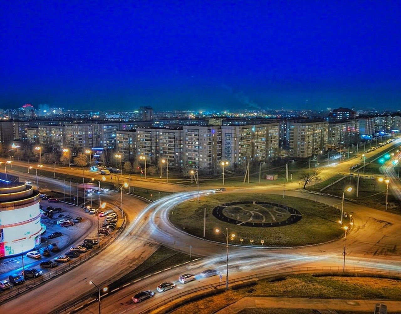 Transportation Traffic Illuminated Night High Angle View City Speed липецк Lipetsk Motion Car Blue Rush Hour Connection Highway Long Exposure City Life Street Light Bridge - Man Made Structure Land Vehicle Mode Of Transport