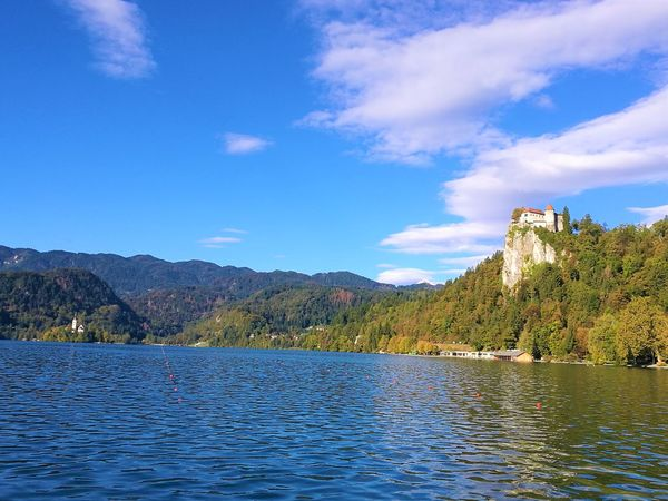 Alpine Beauty In Nature Bled Castle Bled Lake Bled, Slovenia Bridge Day Fun Nature No People Outdoors Sky And Clouds Slovenia Trees And Nature Vication Water
