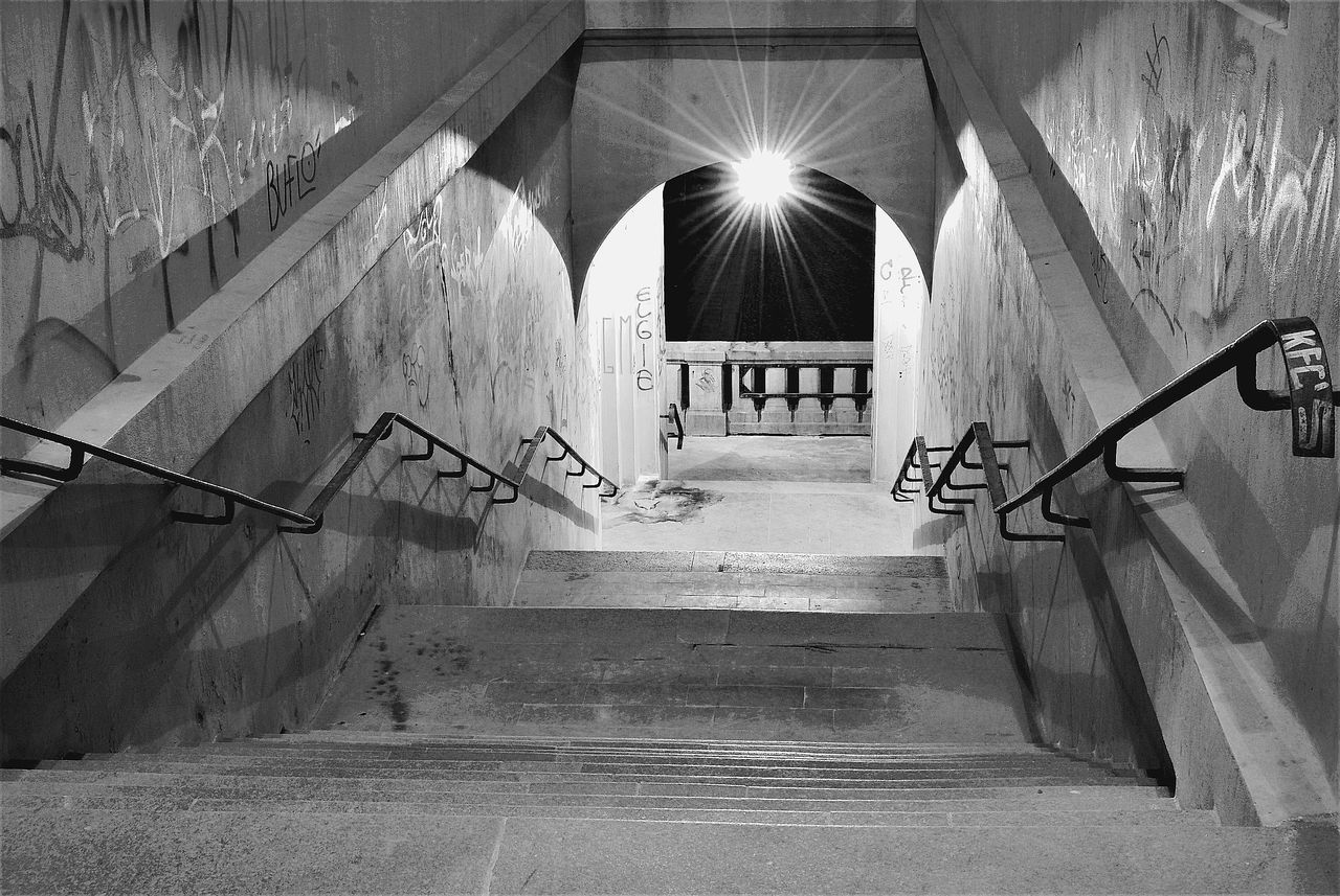 steps, staircase, steps and staircases, architecture, railing, indoors, built structure, illuminated, the way forward, arch, no people, hand rail, day