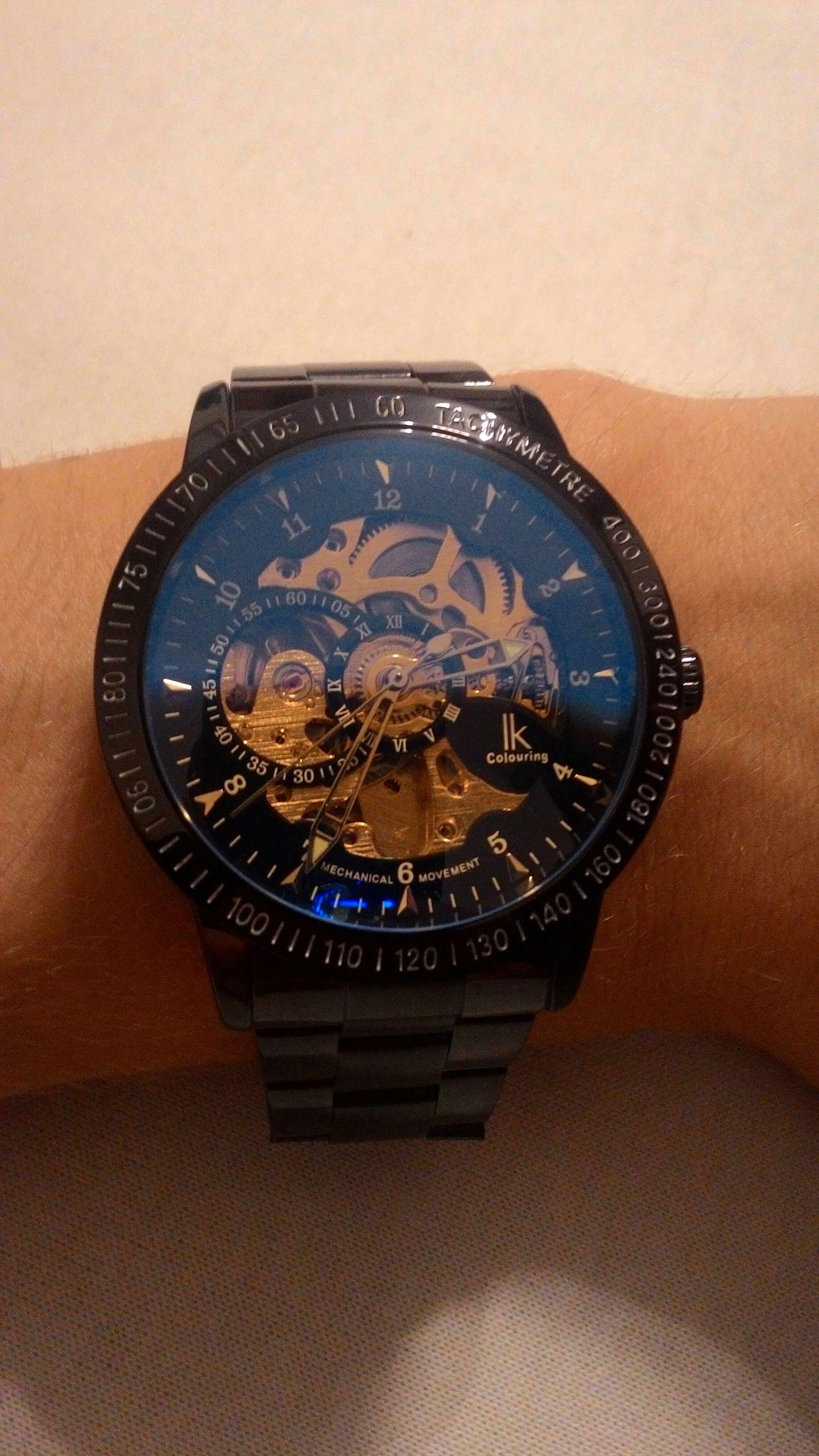 New Watch Blue Black Golden Time Chilling The Purist (no Edit, No Filter) Taking Photos Nice Looking Clean Blue Glass Mechanical Watch Automatic Watch Alienwork