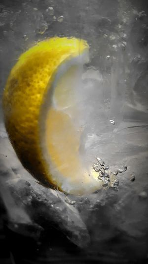 Lemon suspended in Water. PhotographybyTripp Smartphone Photography Samsung Galaxy Note 5 Camera360Ultimate Pixlr Lemon Water Up Close And Personal Ice Water Selective Focus Manual Focus EyeEm Gallery EyeEm Getty Collection Splash Of Color