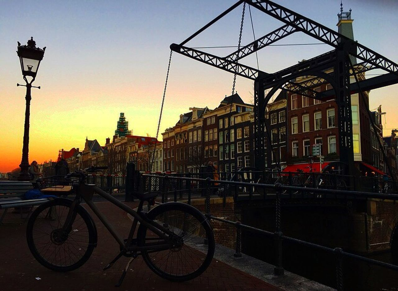 Architecture Building Exterior Built Structure Transportation City Land Vehicle Mode Of Transport Bicycle Sky Outdoors Sunset Vanmoof Electric Bicycle E-bike 愛アムステルダム Iamsterdam Netherlands ❤ Happy