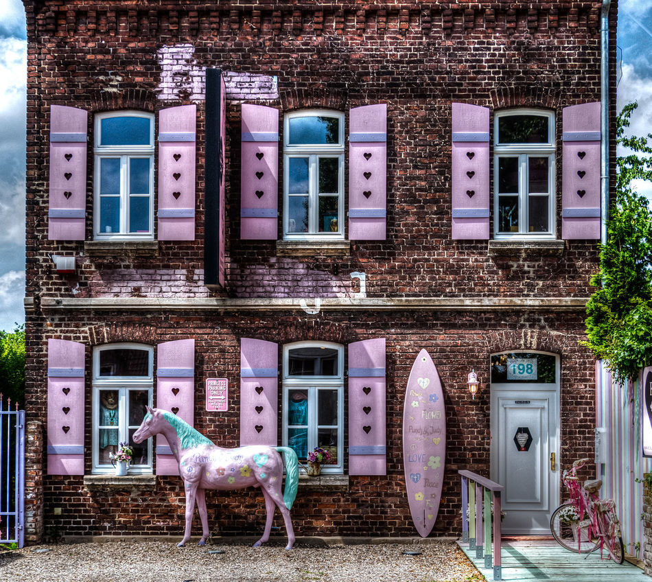 Architecture Building Exterior Horse Houses And Windows Outdoors Pink Pink Color Pink Dreams Pink Horse