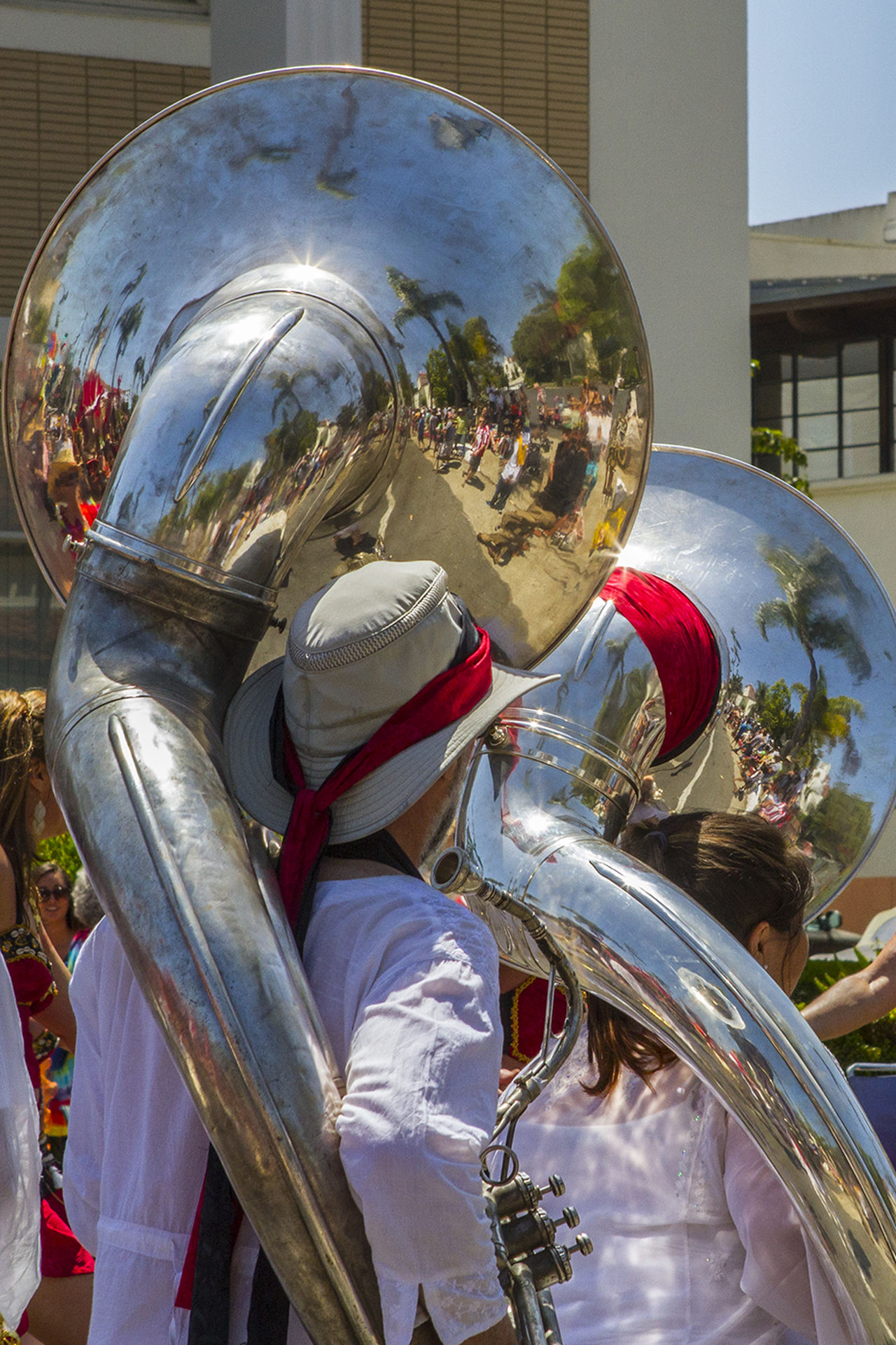 Parade Day Building Exterior City Life Day Outdoors Parade People Reflections Tuba Uniform