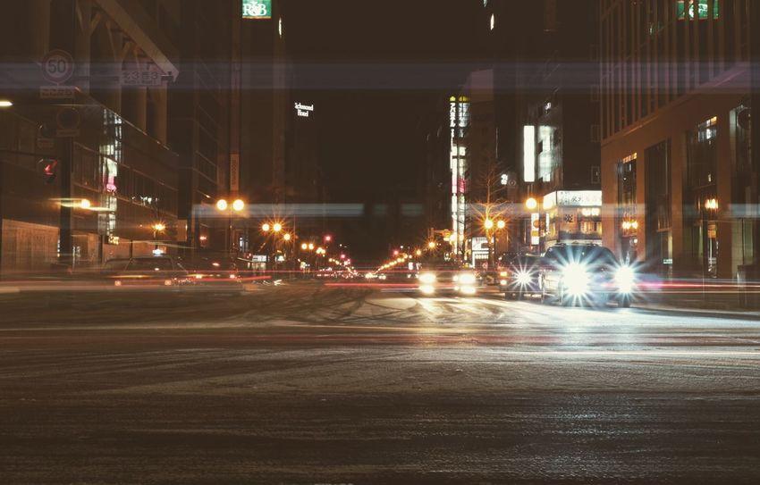 Night Illuminated Road City Car Eos7s