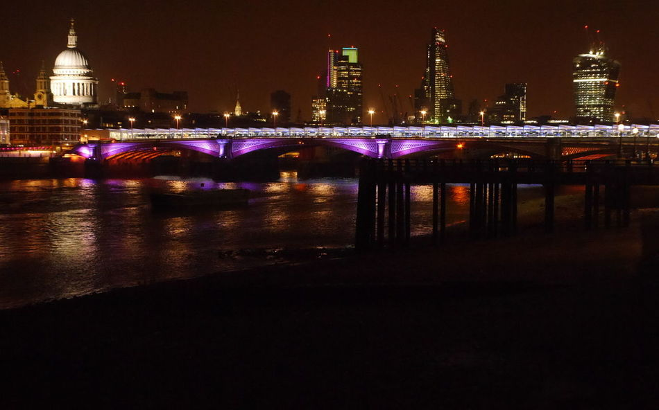 Blackfriars Blackfriars Bridge Blackfriars Railway Bridge London London Skyline At Night River Thames At Night St. Paul's Cathedral Thames River First Eyeem Photo