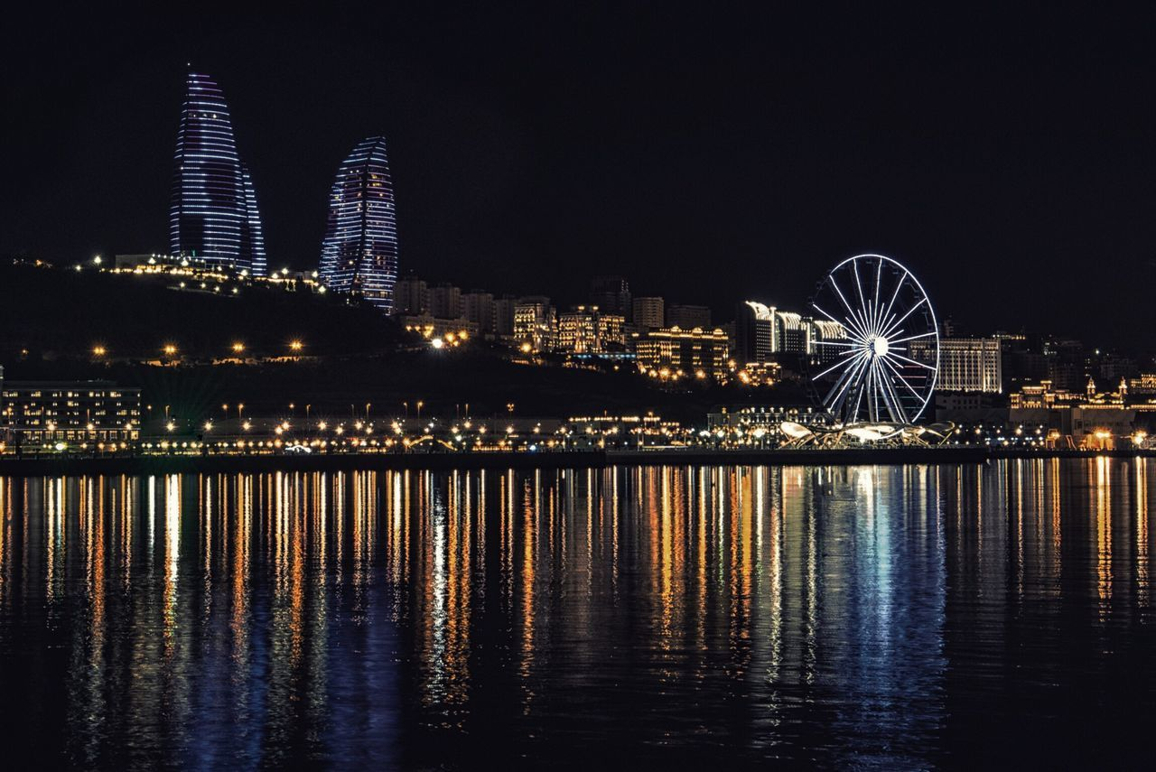 Night Illuminated Reflection Architecture Ferris Wheel Building Exterior Water Waterfront Built Structure River City Skyscraper Travel Destinations Bridge - Man Made Structure No People Outdoors Sky Cityscape Urban Skyline Moon Baku Azerbaijan Azerbaycan