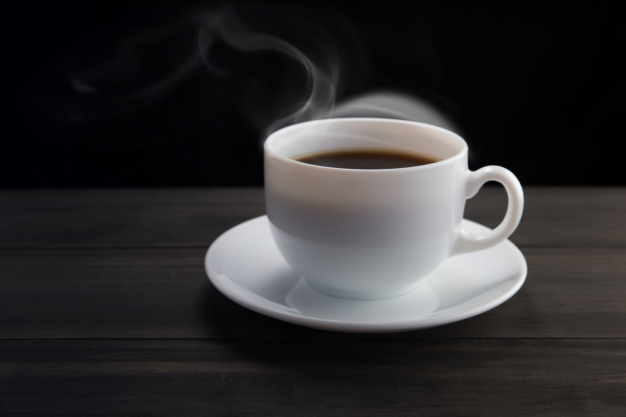White coffee cup with smoke on black background Aroma Black Background Black Coffee. Cafe Caffeine Classic Coffee Coffee - Drink Coffee Cup Coffee Shop Dark Drink Espresso Food And Drink Hot Kopi Make Coffee Mug Refreshment Saucer Simple Smoke Still Life Vintage Style Wood