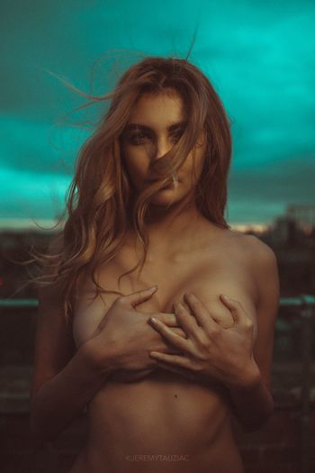 Model London Rooftop One Person Shirtless Standing Front View Young Adult Long Hair Love Young Women Beautiful Woman