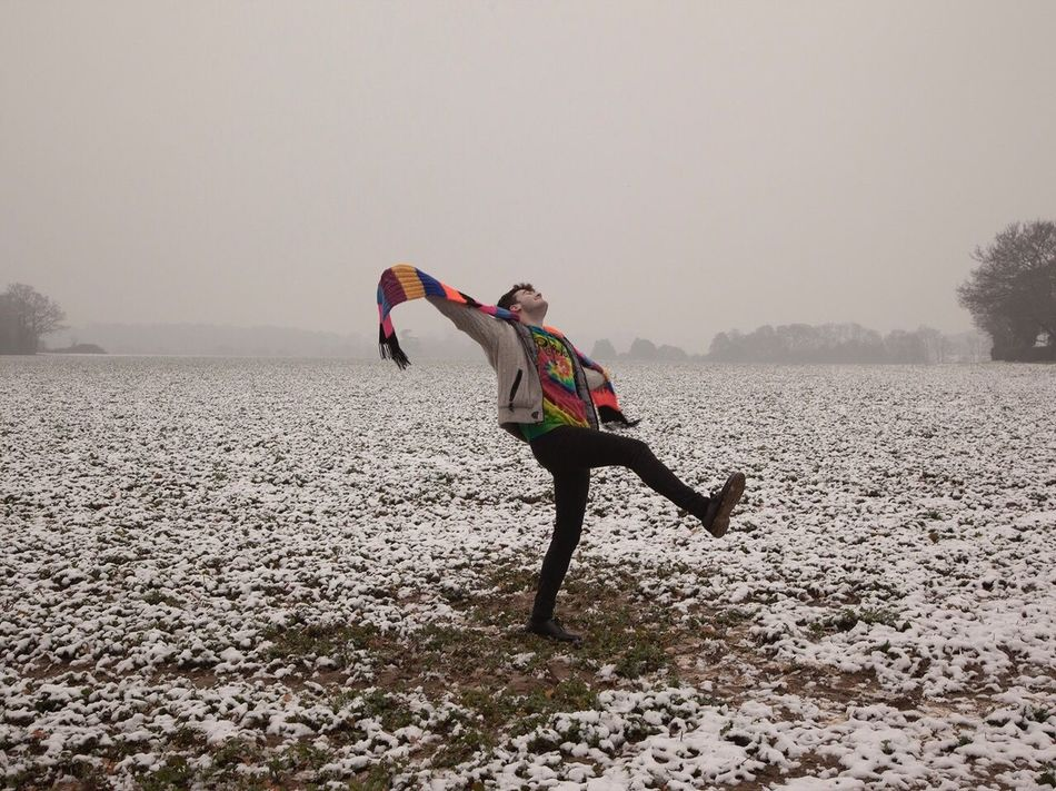 'The Snow' Josh 14, Suffolk 2016 Outdoors One Person Portrait Suffolk Countryside Life Countryside Youth Of Today Teenager Life Neon Stripy Scarf Full Length Real People Lifestyles Dancing
