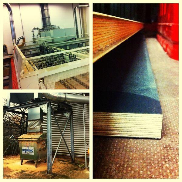giant saw produces massive sawdust handling 200 pound multplexed wood. w00t!