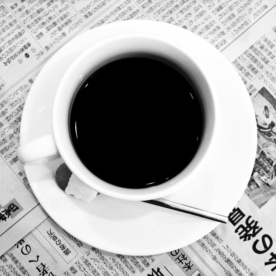 Beautiful stock photos of newspaper, Black Coffee, Coffee, Coffee Cup, Directly Above