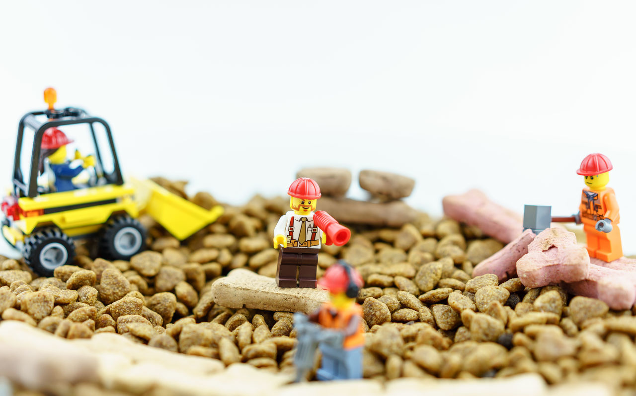 Abundance Boss Construction Construction Work Construction Worker Container Copy Space Dog Food Figurine  Focus On Foreground Large Group Of Objects LEGO Multi Colored No People Road Selective Focus Showcase April Still Life Variation Work