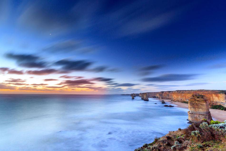 The Twelve Apostles at Dusk, extended exposure Architecture Beauty In Nature Built Structure Cloud - Sky Day Dusk Eye4photography  EyeEm Best Shots EyeEm Nature Lover Horizon Over Water Nature No People Outdoors Rock Formation Scenics Sea Sky Sunset Tranquil Scene Tranquility Travel Water