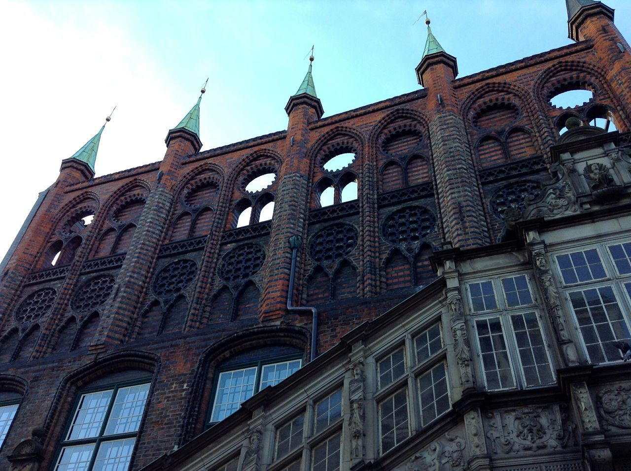 Architecture in Lübeck. · Germany Schleswig-Holstein Hansestadt Lübeck Hl Hanseatic Old Town Low Angle View Urban Geometry Urban Landscape History Built Structure Sightseeing No People