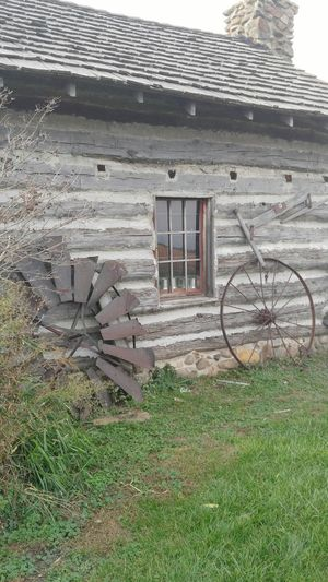 Life in a Northern Town Log Cabin And A Field Prairie Morris Illinois